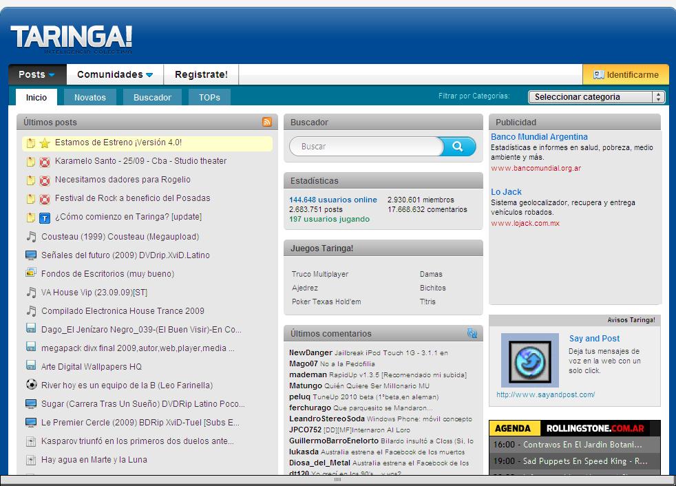 taringa Taringa.net: Descargar programas, películas y música gratis