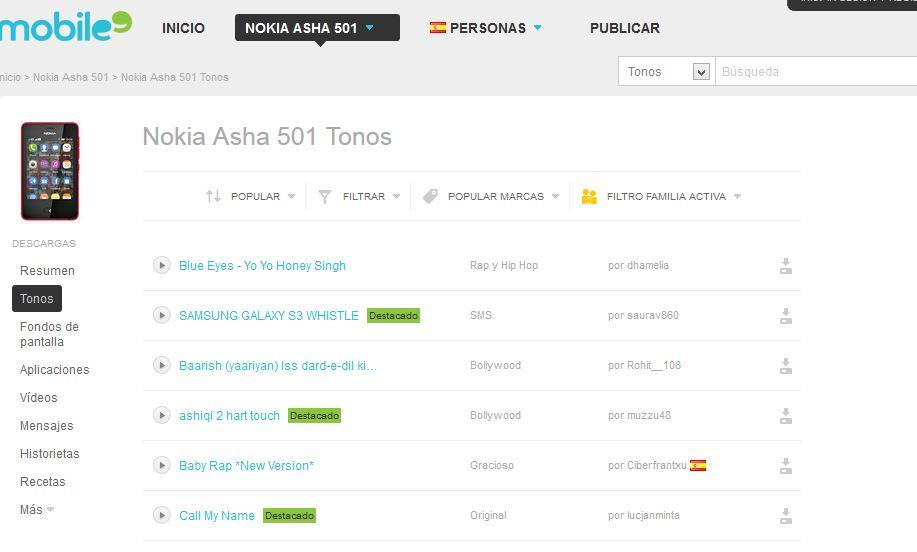Mobile9.com: Descargar tonos y fondos de pantalla para Nokia