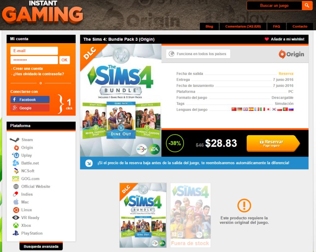 Instant Gaming, compra videojuegos a precios irresistibles